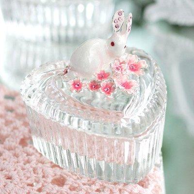 glass sakura rabbit jewelry box