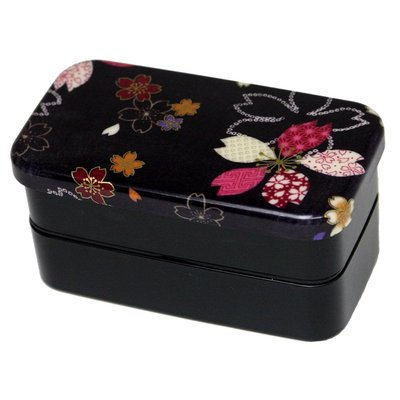 Black bento box w/ colorful sakura