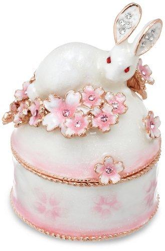 white rabbit and sakura jewelry box